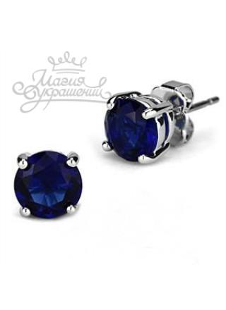 Серьги Темно-синие фианитики