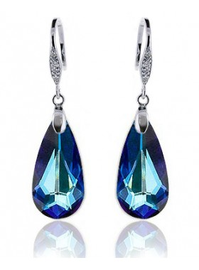 Серьги Драгоценные с кристаллом Swarovski Bermuda Blue