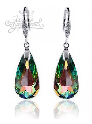 Серьги Драгоценные с кристаллом Swarovski многоцветные