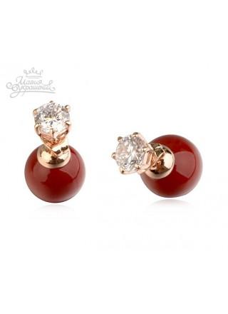 Серьги Красные шарики Ди с кристаллами