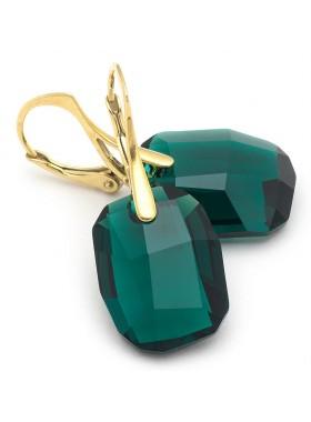 Серьги Кристальная мечта зеленые кристаллы Swarovski с французской застежкой