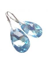 Серьги Миндалевидные с голубыми Aquamarine Swarovski