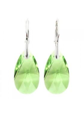 Серьги светло зеленые Миндаль с Peridot Swarovski