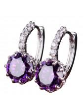 Серьги с круглым фиолетовым кристаллом