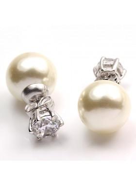 Серьги Жемчужные шарики Ди с кристаллами