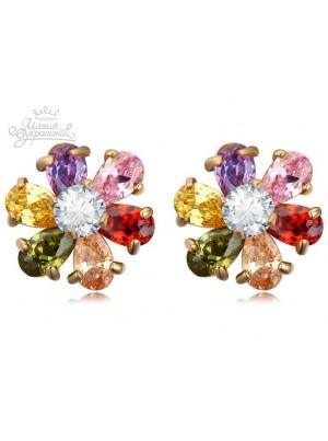 Серьги Яркие цветочки с фианитами