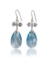 Серьги Лазурные капли с голубыми Сваровски Aquamarine