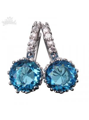 Серьги с круглым голубым кристаллом