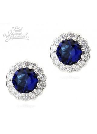 Серьги Кристальные синие кружева
