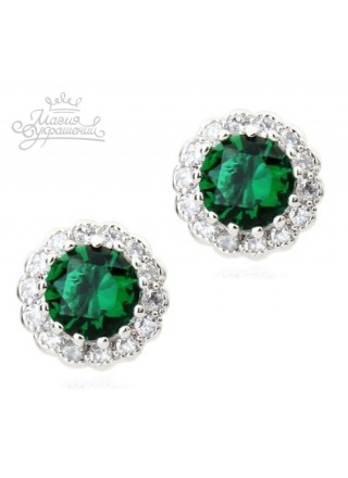 Серьги Кристальные зеленые кружева
