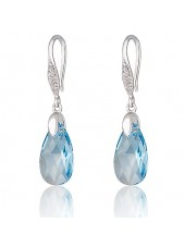 Серьги Полярное сияние голубой кристалл Swarovski medium