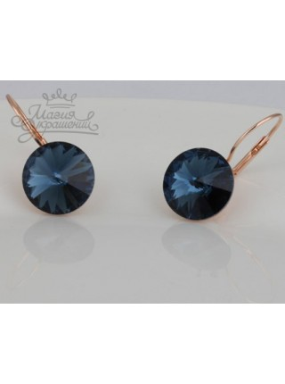 Серьги популярные Монтана синий кристалл Swarovski