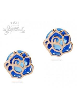 Серьги пусеты Синяя роза