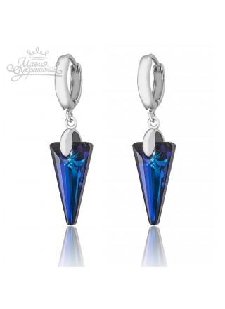 Серьги Жгучие стрелы со Swarovski Bermuda Blue синие