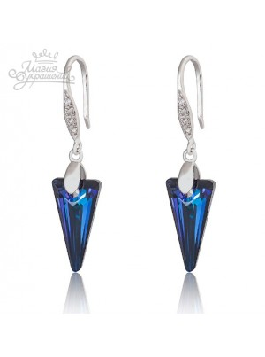 Серьги Серебряные стрелы со Swarovski Bermuda Blue