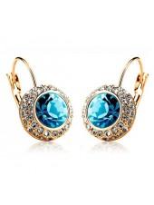 Серьги Глазки голубые с голубыми кристаллами Swarovski