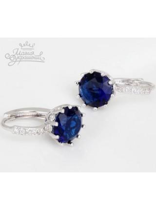 Серьги с круглым синим (сапфировым) кристаллом