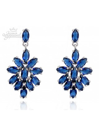 Серьги Сеньорита с синими кристаллами