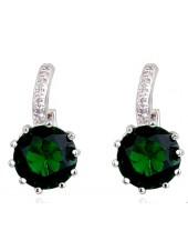 Серьги с кристаллом круглым зеленым