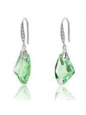 Серьги с зелеными кристаллами Galaktic Vertical Swarovski