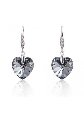 Серьги Сердечки с кристаллами Swarovski Silver Night