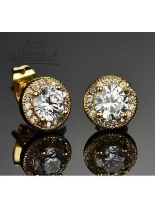 Серьги Круглые со Swarovski кристаллами