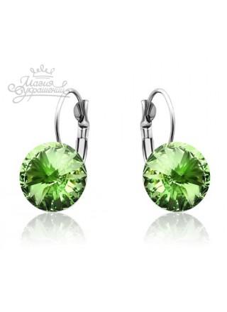 Серьги популярные с круглым зеленым кристаллом Swarovski Peridot