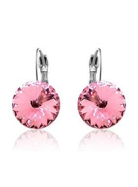 Серьги популярные с круглым розовым кристаллом Swarovski Light Rose
