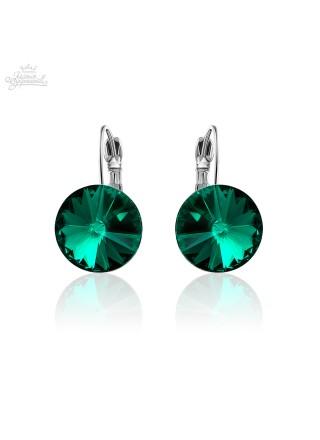 Серьги популярные с зелеными кристаллом Swarovski Emerald
