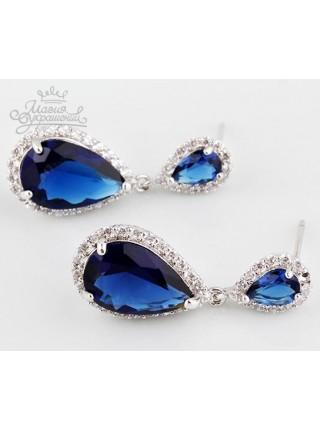 Серьги Сверкающие нежные синие капельки