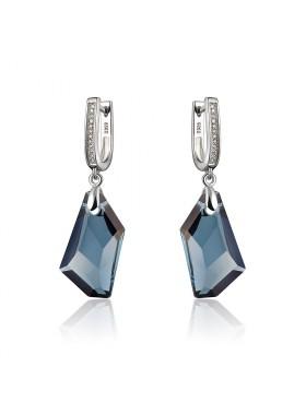 Серьги с темно синим кристаллом Сваровски английская застежка
