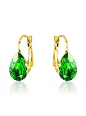 Серьги Капля с кристаллом Swarovski Fern Green