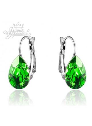 Серьги Капля с кристаллом Swarovski Fern Green родий