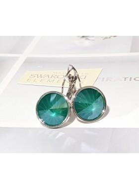 Серьги модные с зелеными кристаллами Swarovski