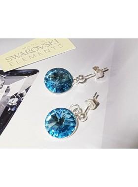 Серьги с подвесным голубым кристаллом Swarovski Aqamarine