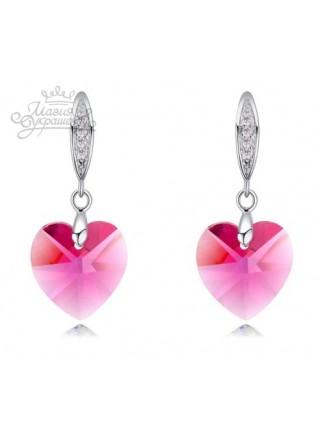 Серьги Сердце с розовыми Swarovski