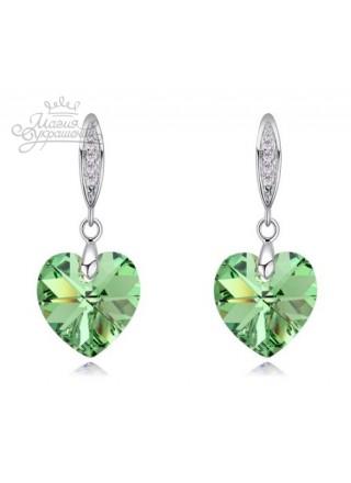Серьги Сердце с зелеными Swarovski