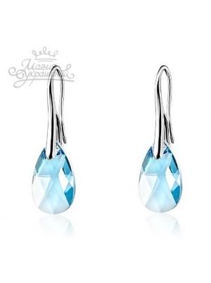 Серьги с голубым кристаллом Swarovski medium