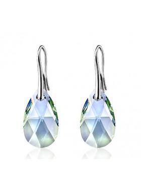 Серьги Миндалевидные с зелено голубыми кристаллами Swarovski