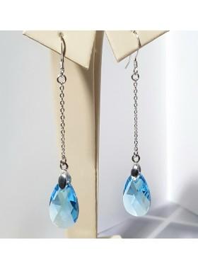 Серьги висячие с голубым кристаллом