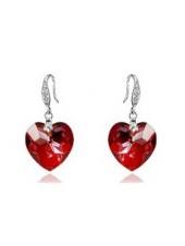 Серьги Красное Сердце со Сваровски кристаллом