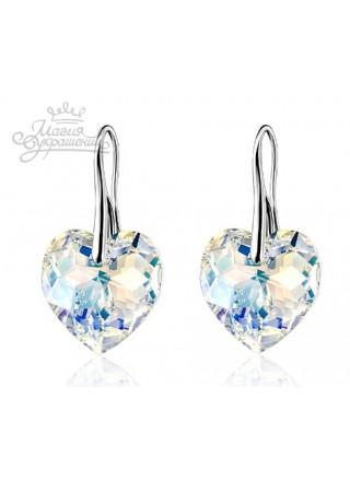 Серьги Сияющее сердце с кристаллами Swarovski