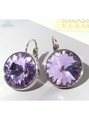 Серьги с круглым сиреневым кристаллом Swarovski