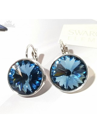 Серьги с круглым синим кристаллом Swarovski