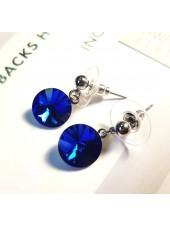 Серьги с подвесным синим кристаллом