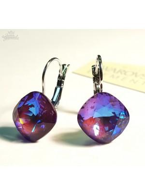Серьги Ромбы с многоцветными кристаллами Swarovski