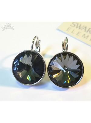 Серьги с круглым темным кристаллом Swarovski