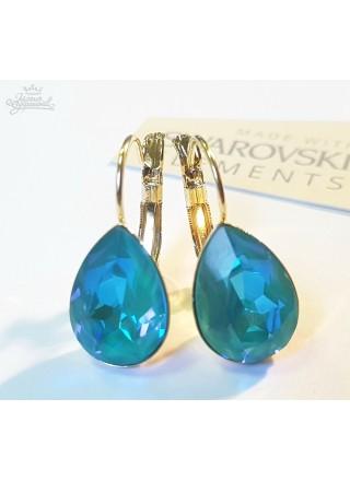 Серьги Капля с кристаллами Swarovski цвета Лагуны