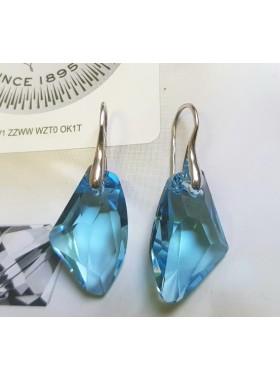Серьги c Крупными голубыми кристаллами Swarovski