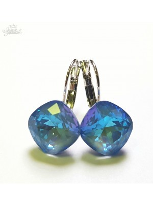 Серьги Ромбы Небесные с кристаллами Swarovski